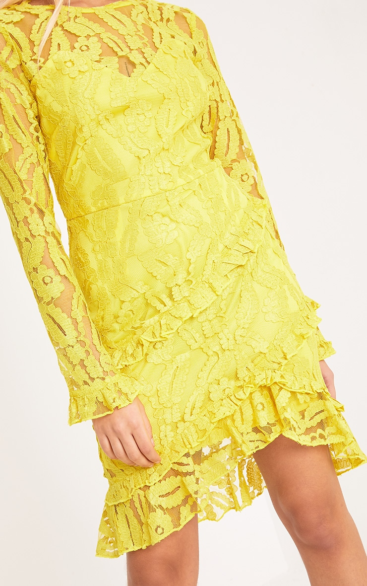 Anneke Yellow Lace Frill Detail Bodycon Dress  5