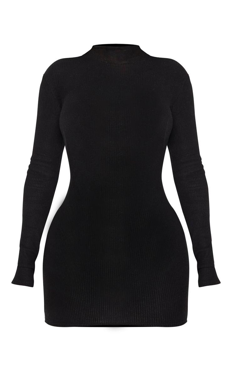 Shape Black Brushed Rib High Neck Bodycon Dress 3