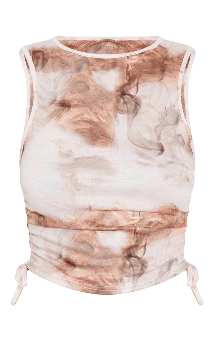 Beige Abstract Print Drawstring Side Racer Crop Top 5