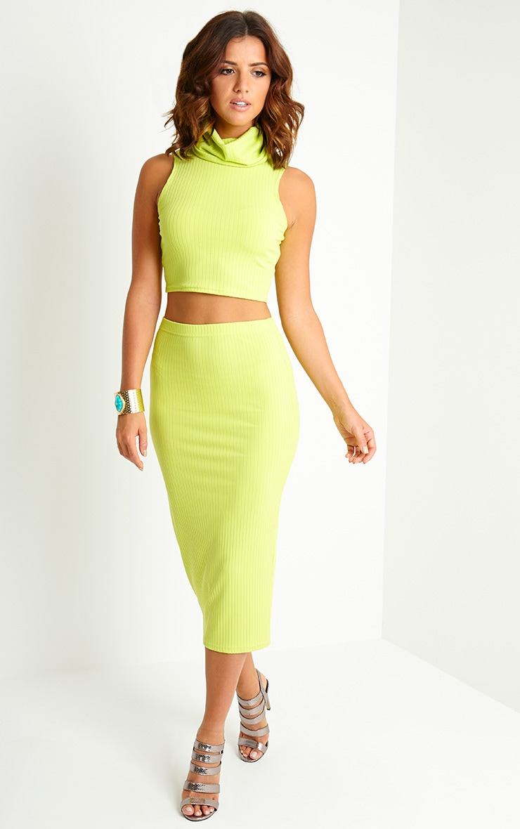 Lacey Lime Ribbed High Neck Crop Top 3