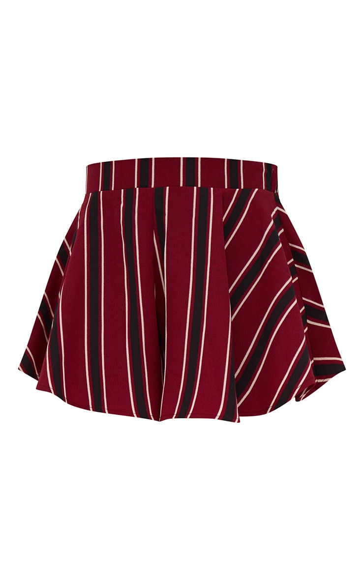 Burgundy Stripe Floaty Shorts 3