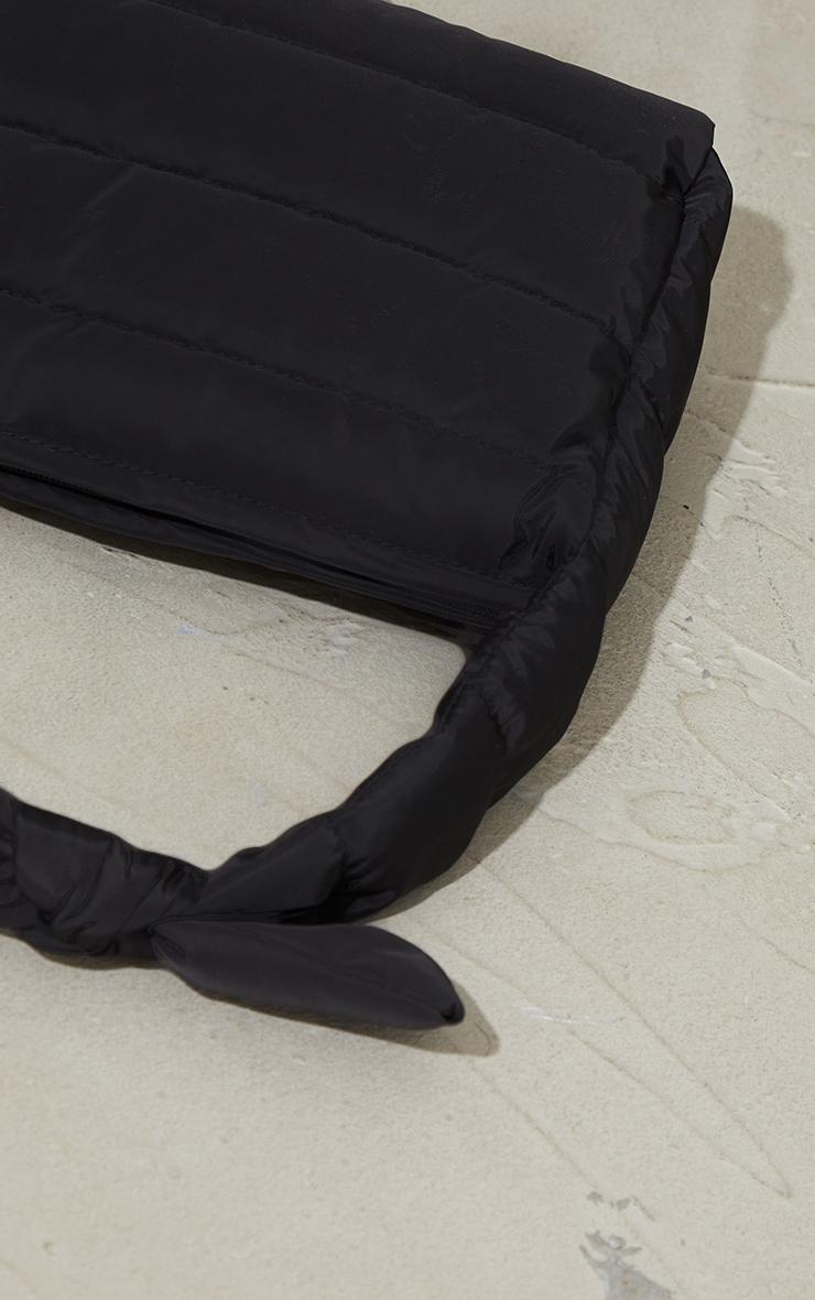 Black Quilted Tie Strap Grab Bag 4