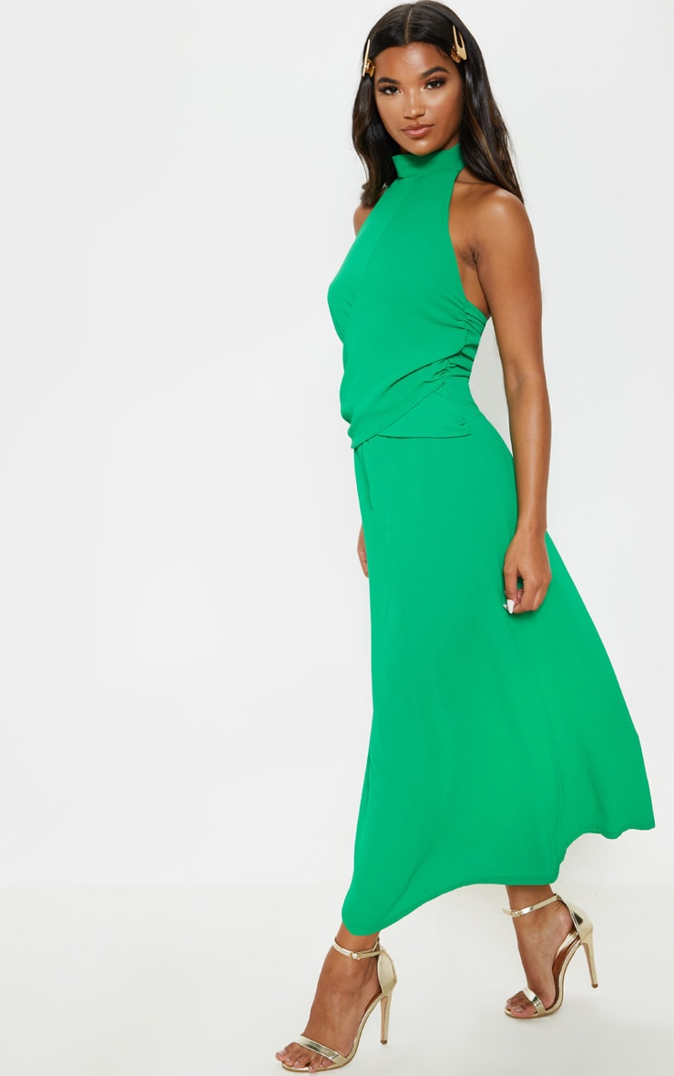 Green Halterneck Wrap Front Maxi Dress 4