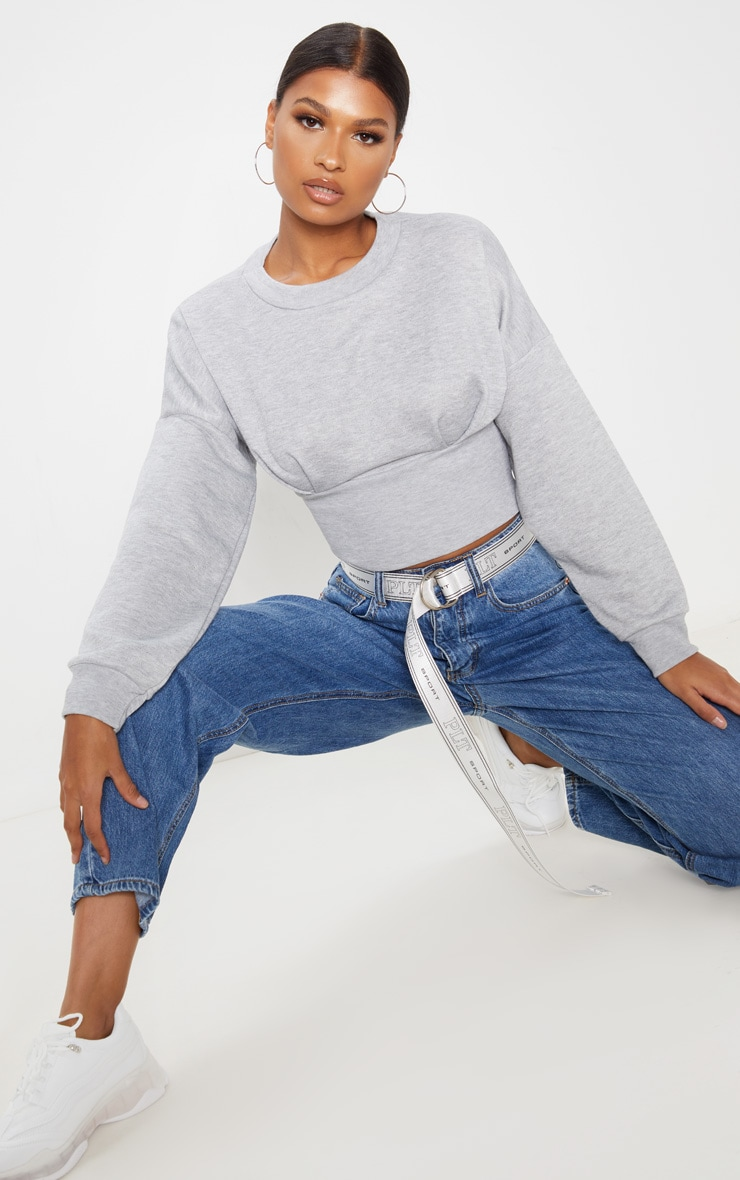 Grey Rib Extreme Hem Crop Sweater 4