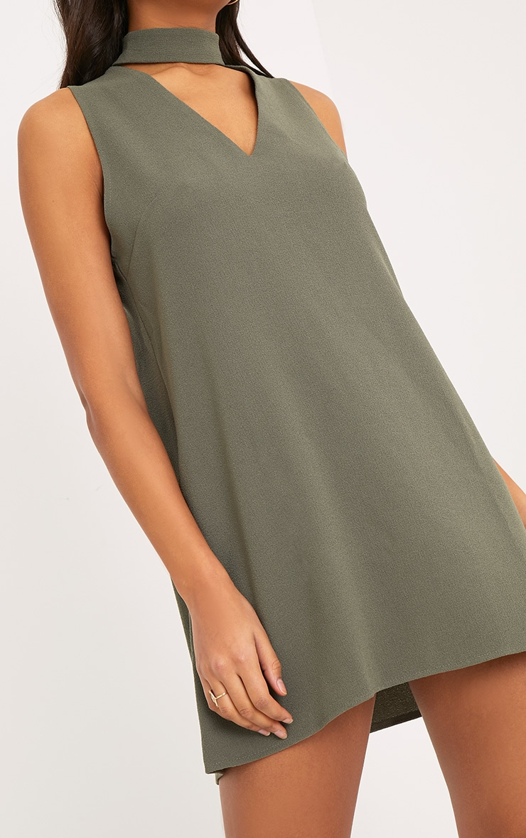 bbc5e042cdaf Cinder Khaki Choker Detail Loose Fit Dress image 5