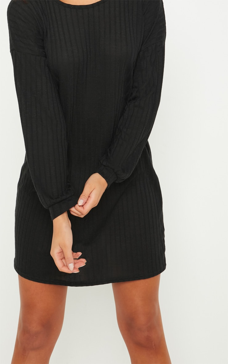 Black Wide Ribbed Oversized Jumper Dress 5