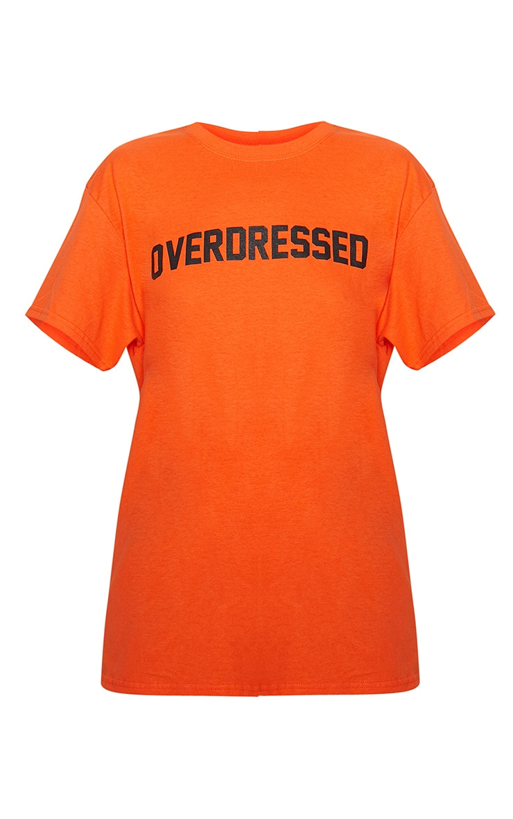 Tangerine Overdressed Slogan Oversized T Shirt 3