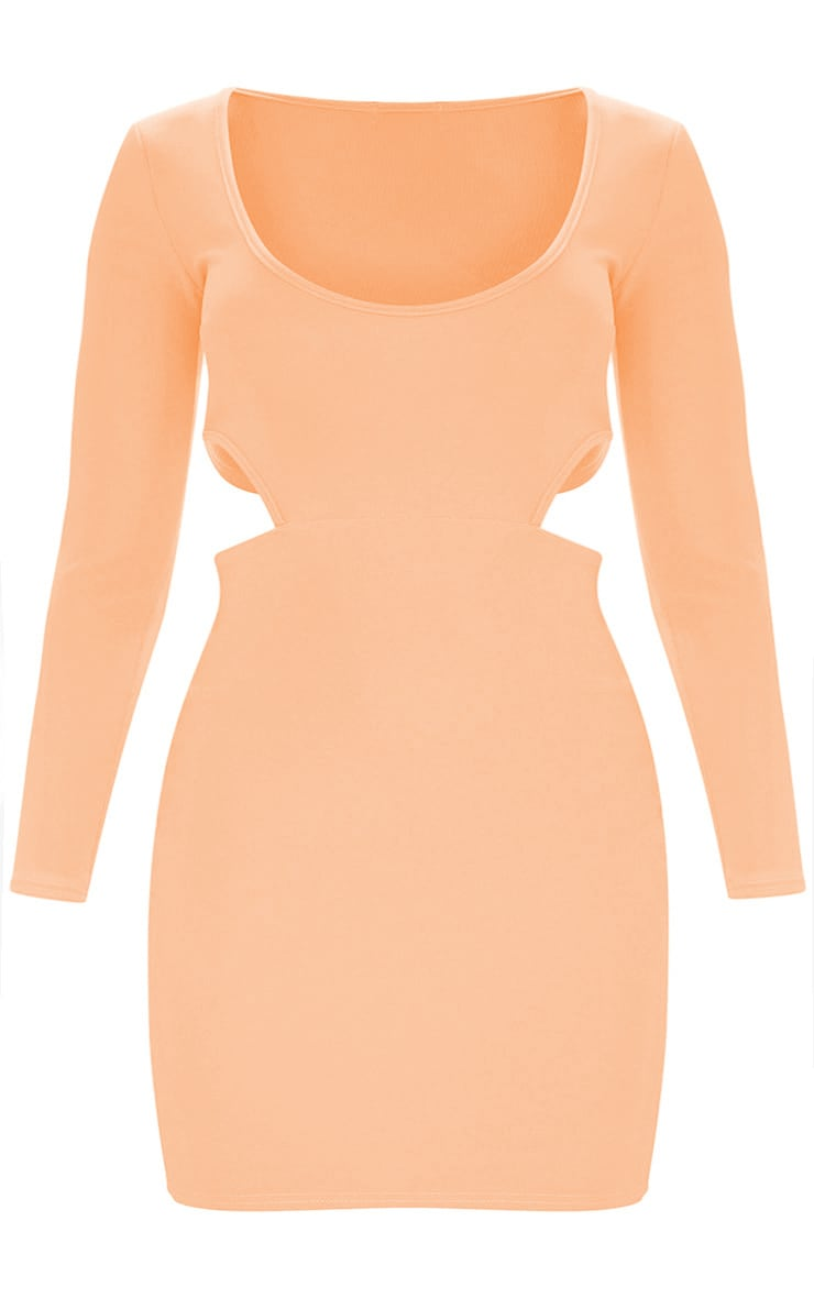 Plus Peach Second Skin Scoop Neck Cut Out Side Bodycon Dress 3