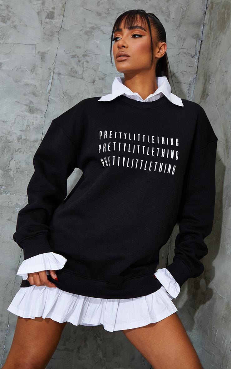 PRETTYLITTLETHING Black Contrast Shirt Detail Sweat Jumper Dress 1