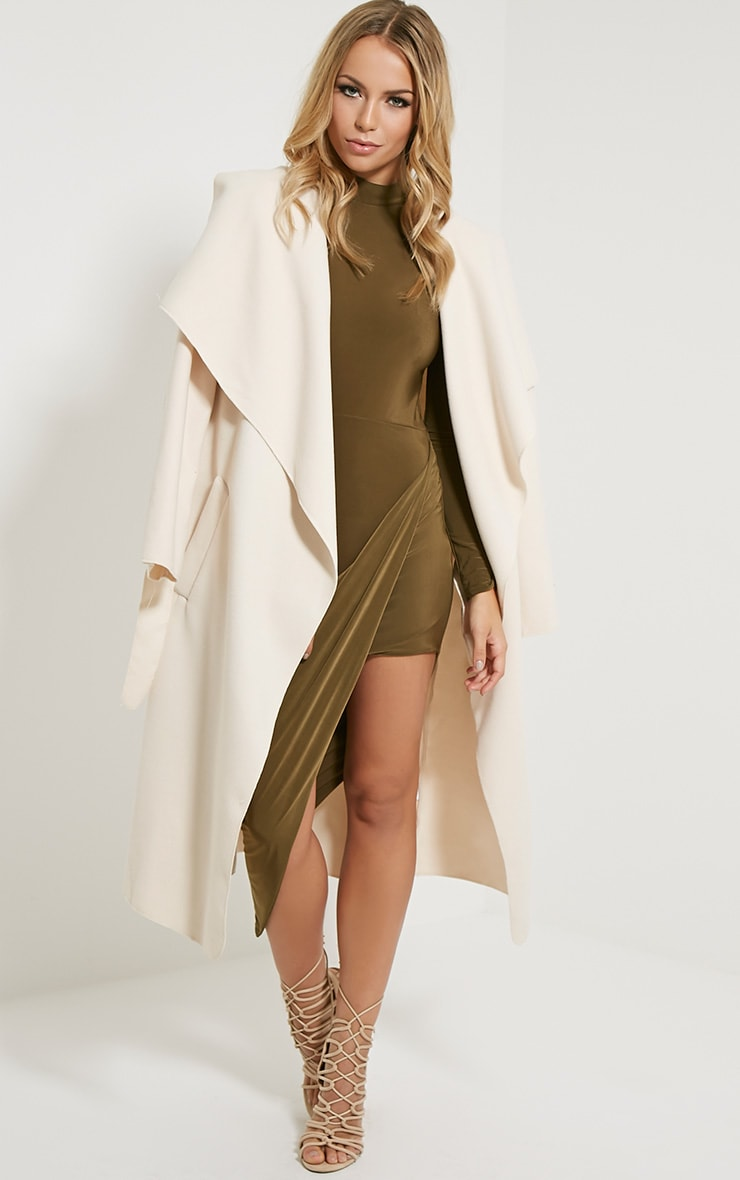 Saffy Khaki Long Sleeve Drape Dress 4