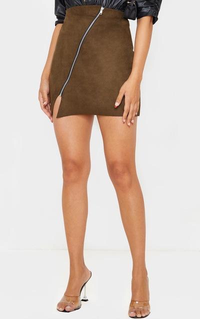 Khaki Faux Suede Zip Detail A Line Skirt