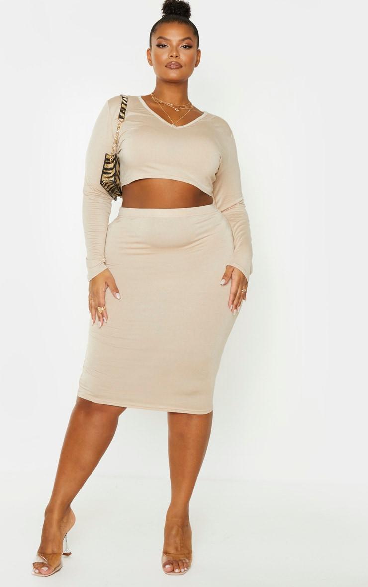 Plus Stone Jersey High Waisted Midi Skirt 1