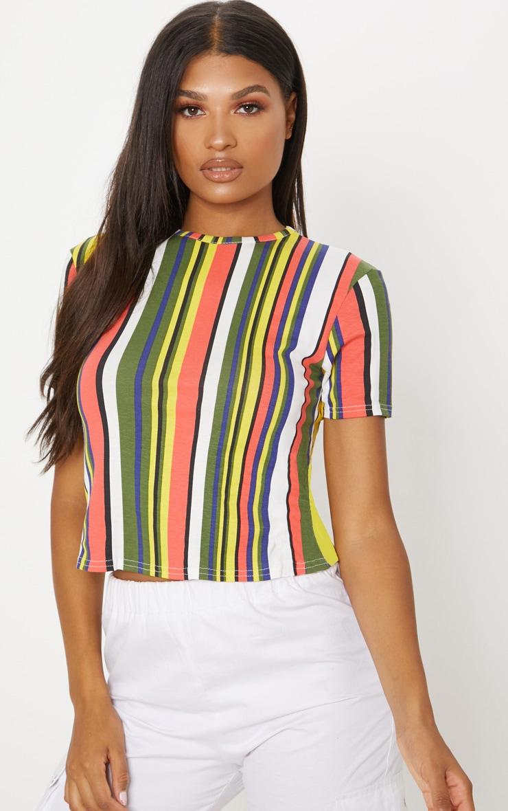 Multi Stripe Short Sleeve T Shirt  1