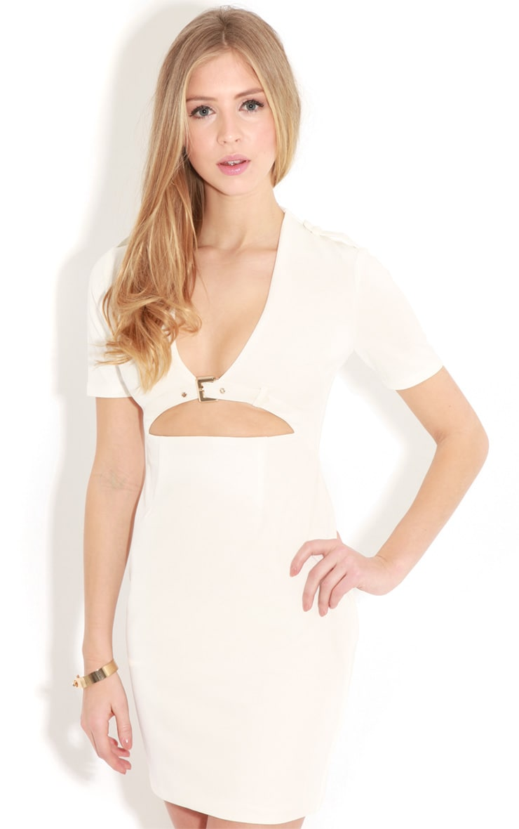Izadora White Cut Out Buckle Dress 1