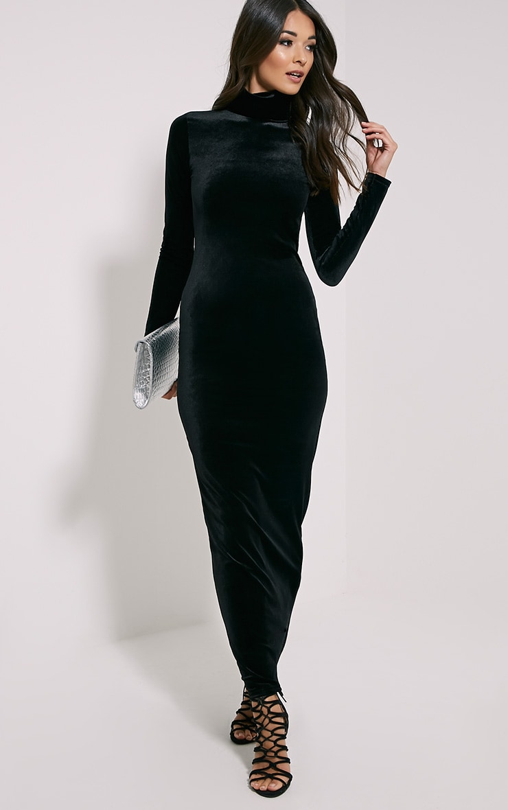 Cindy Black Turtle Neck Velvet Maxi Dress 1
