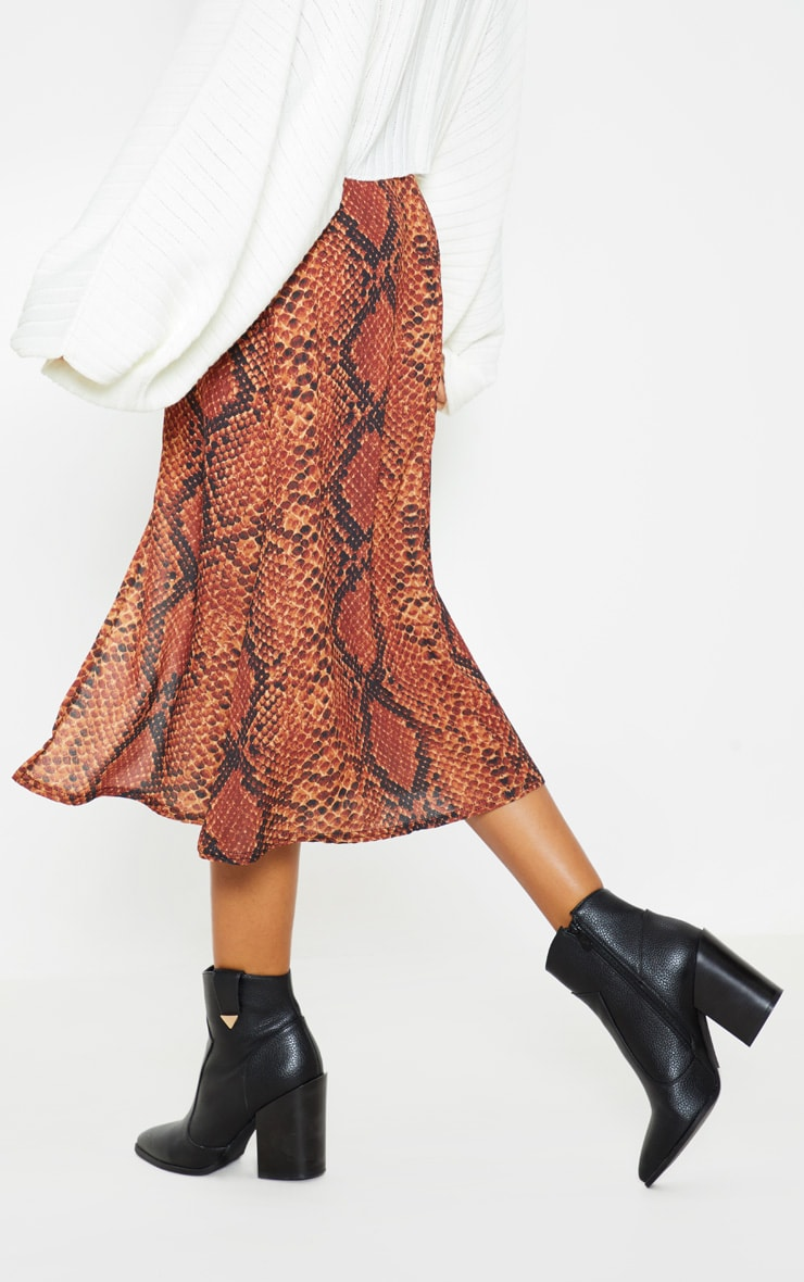 Red Snake Print Floaty Midi Skirt 4
