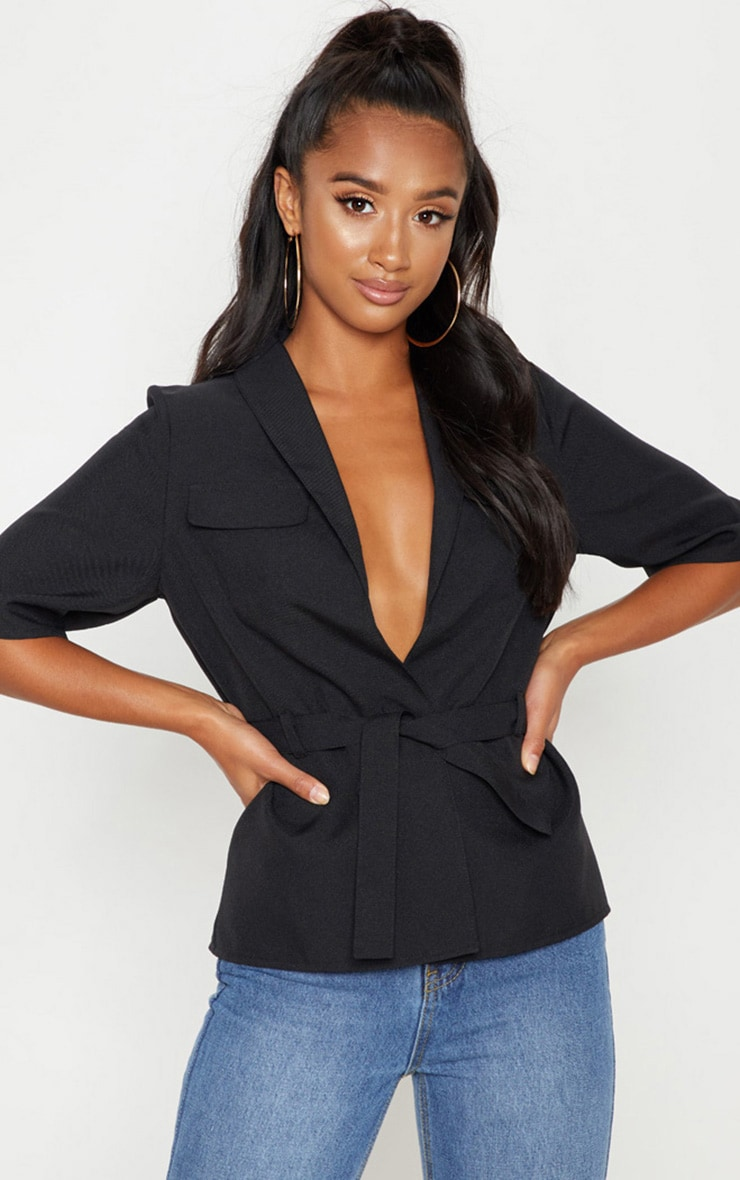 Petite Black Cargo Pocket Detail Tie Waist Shirt 1