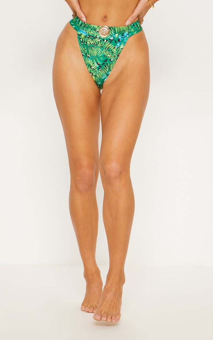 Green Jungle Print Lion Head High Rise Bikini Bottom 2