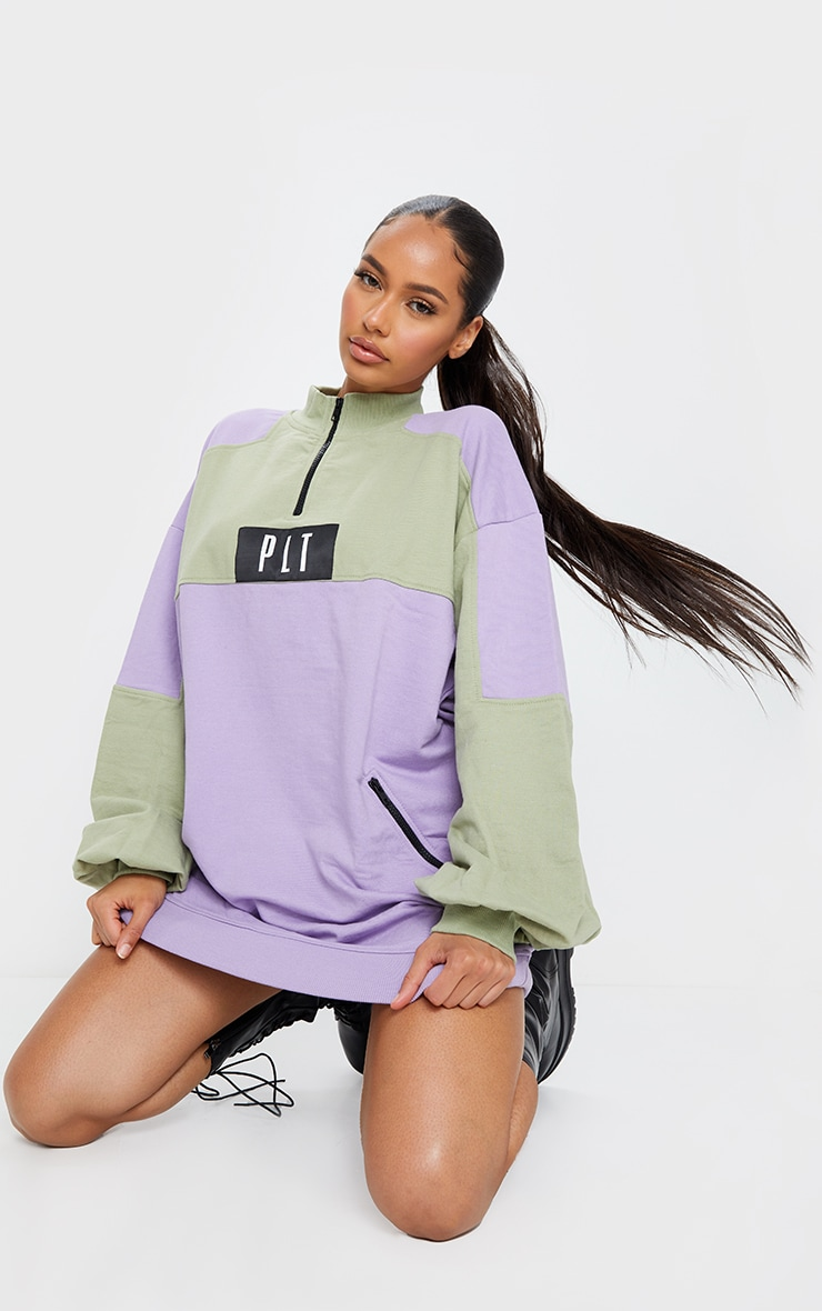 PRETTYLITTLETHING Multi Pastel Double Zip Sweat Jumper Dress 4