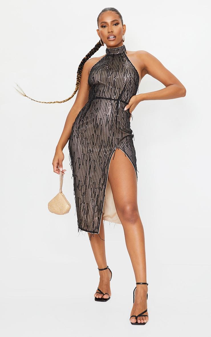 Black Premium Tassel Sequin High Neck Split Leg Midi Dress