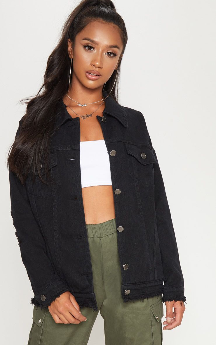 Petite Black Distressed Oversized Denim Jacket 1
