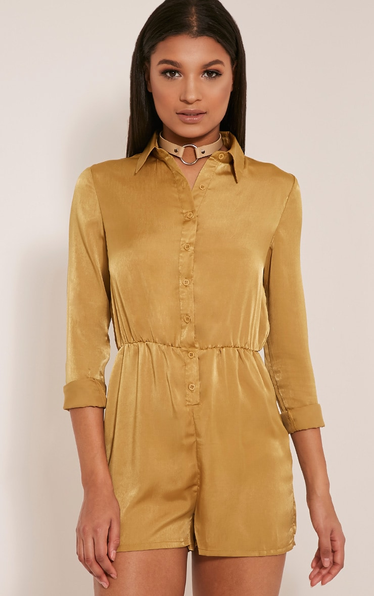 Pina Olive Silk Feel Shirt Playsuit 1