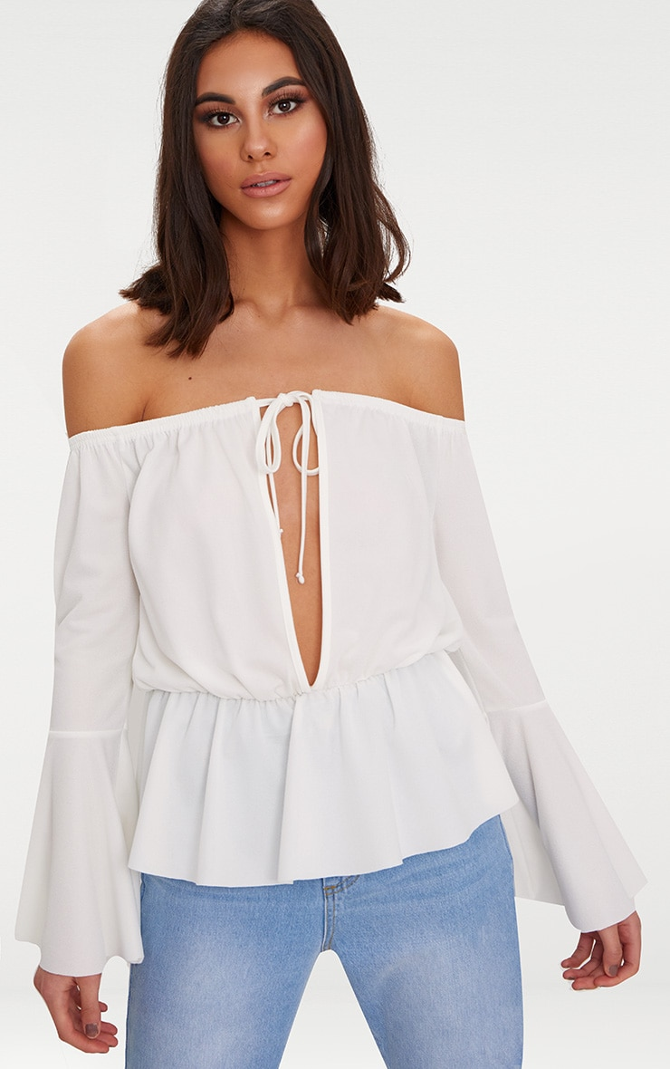 White Crepe Bardot Key Hole Top  1