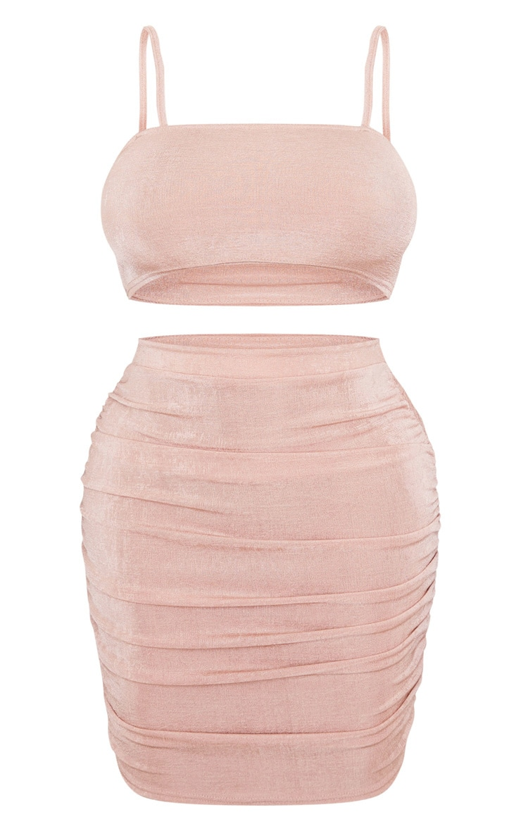Rose Strappy Crop and Ruched Midi Skirt Set 3