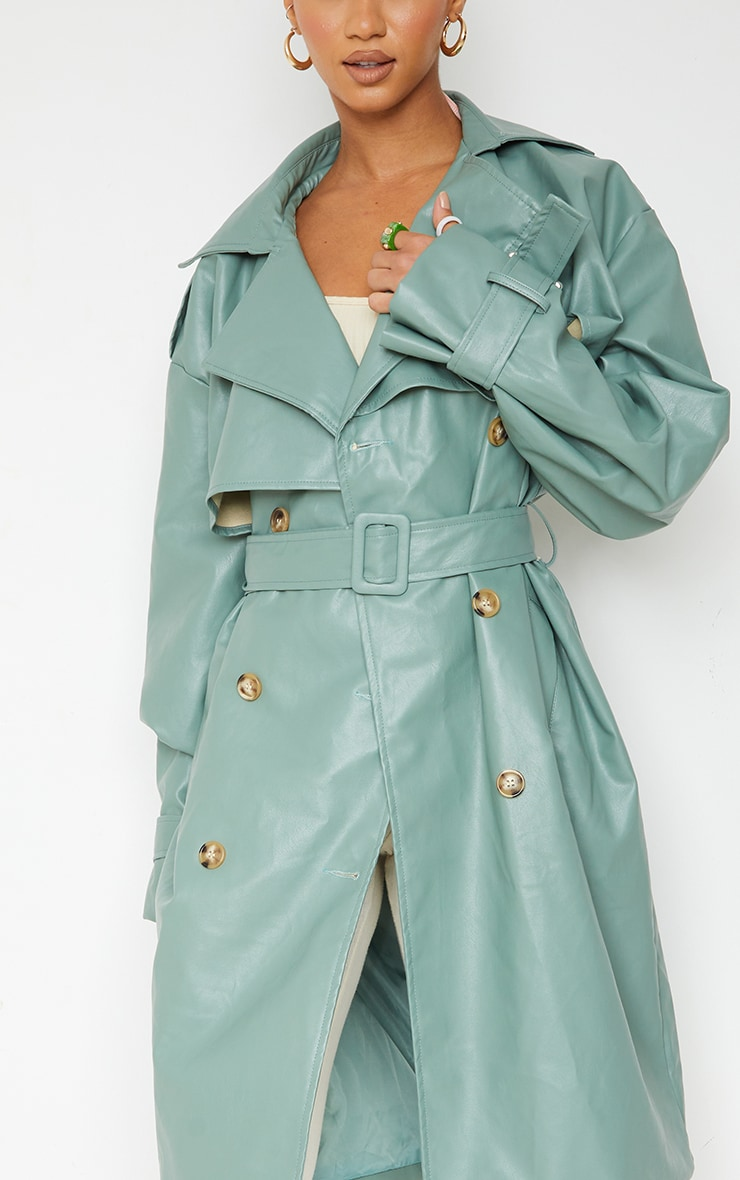 Duck Egg Blue Faux Leather Oversized Belted Midi Trench 4