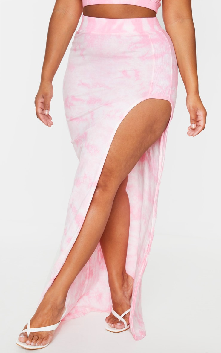 Plus Dusty Pink Tie Dye Rib Panel Split Detail Maxi Skirt 2