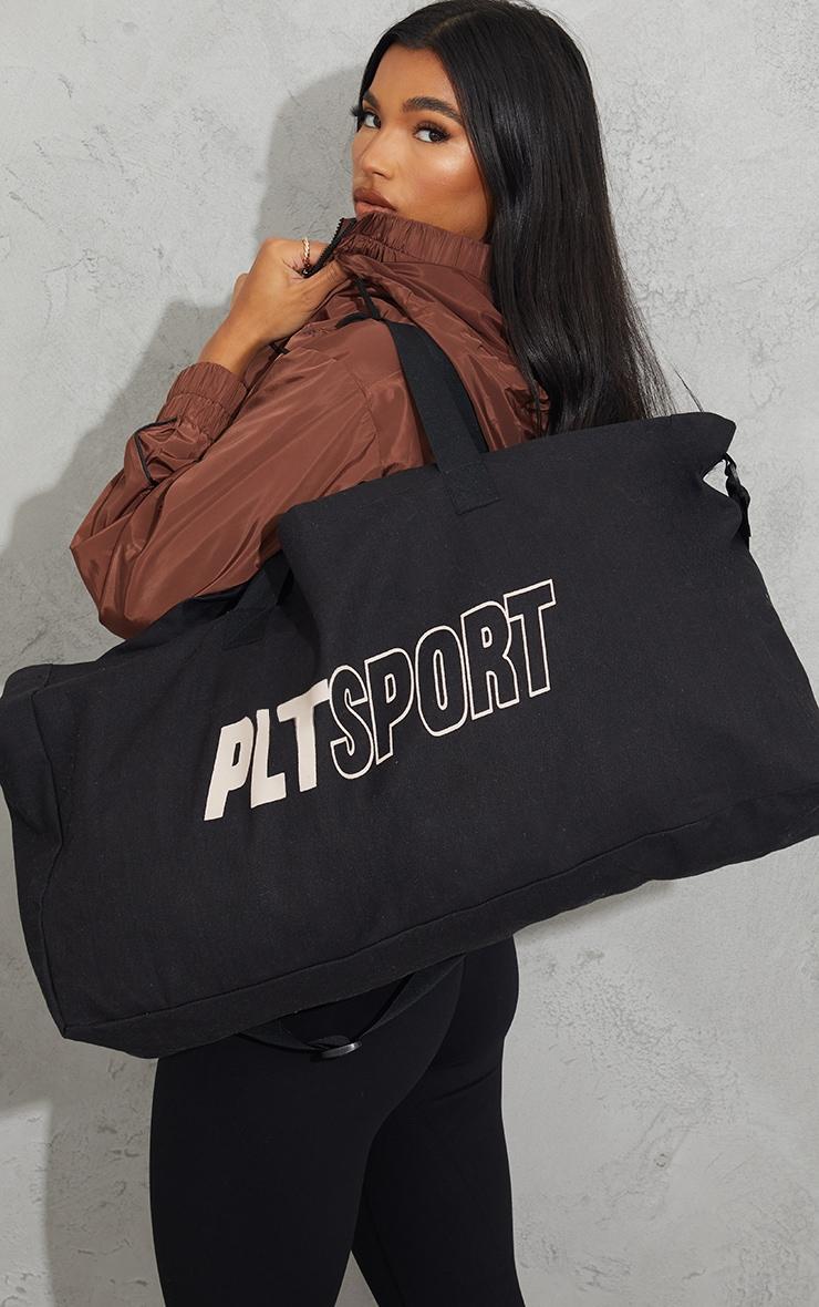 PRETTYLITTLETHING Black Oversized Sport Canvas Bag image 1