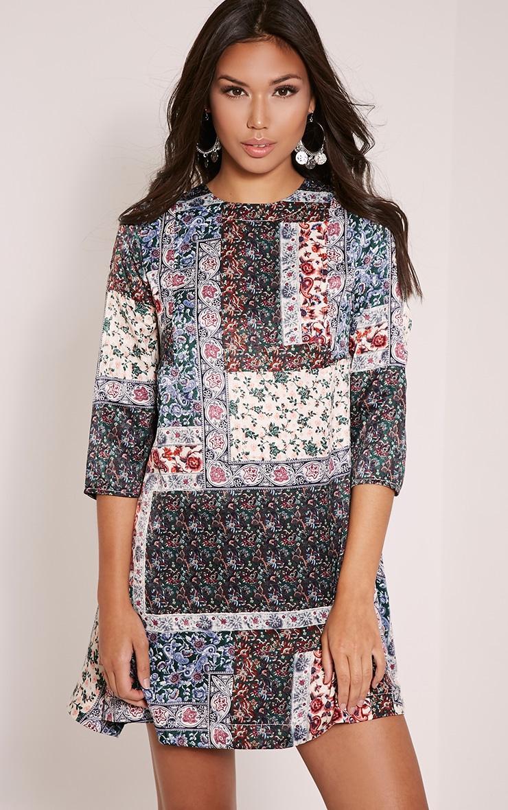 Zabrina Blue Floral Print Shift Dress 1