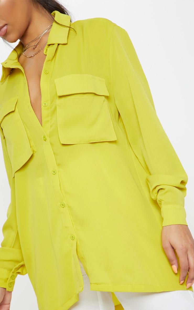 Lime Oversized Chiffon Shirt 5