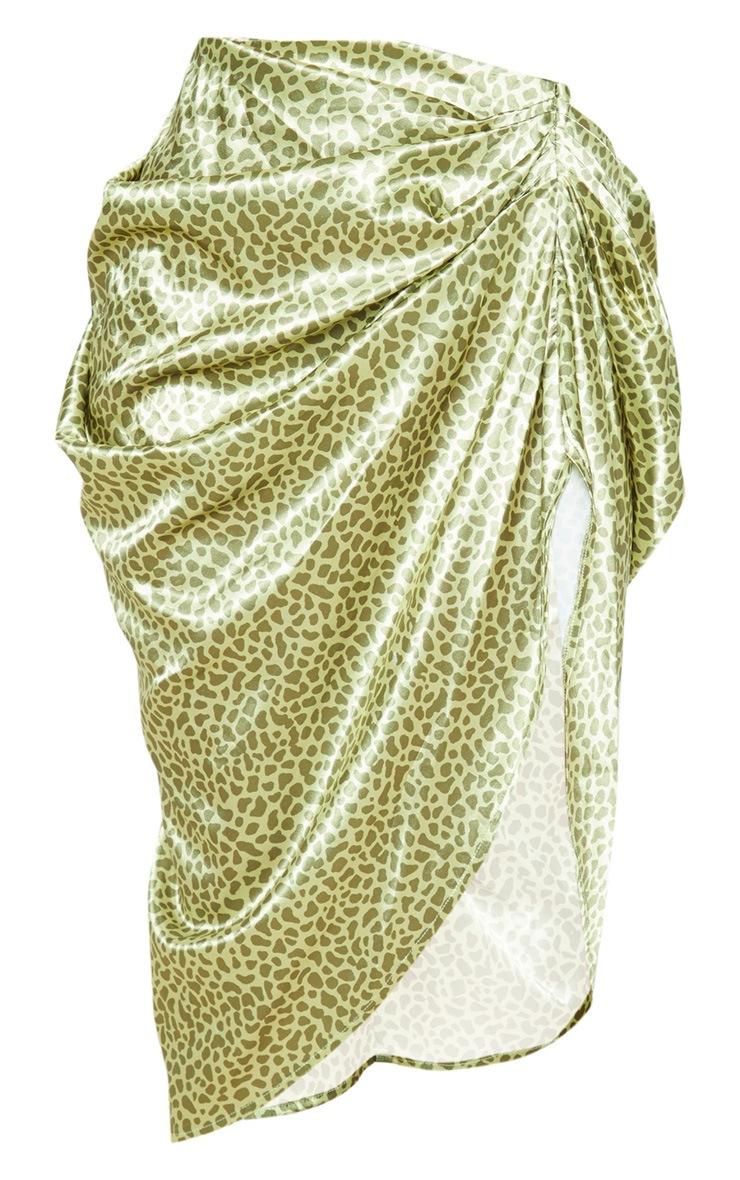 Yellow Giraffe Print Ruched Side Midi Skirt 3