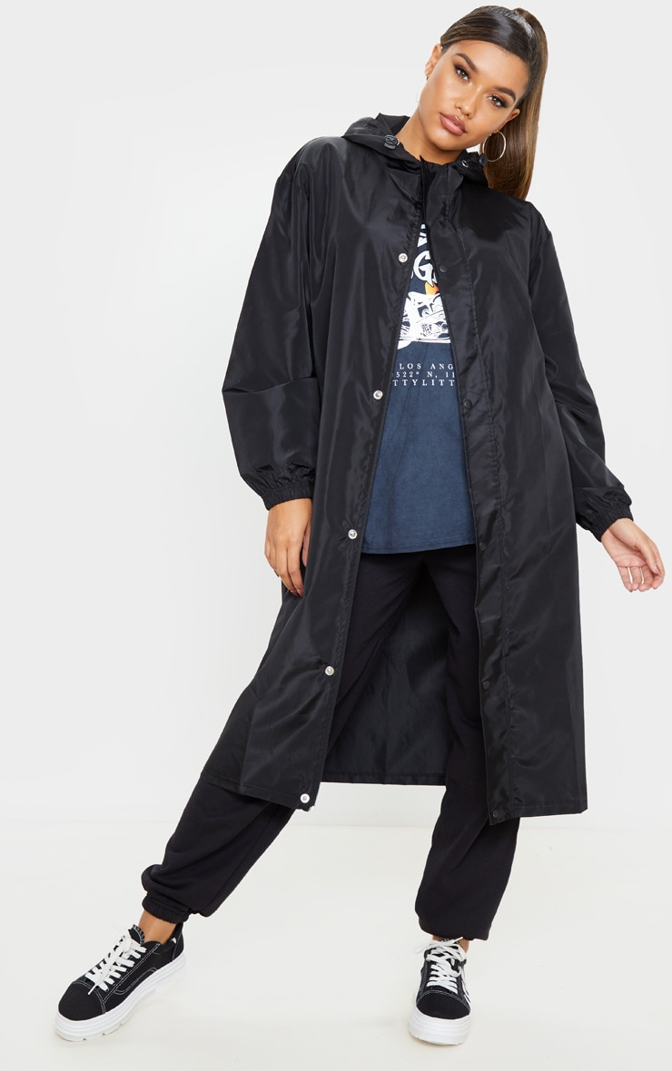 Black Longline Windbreaker 1