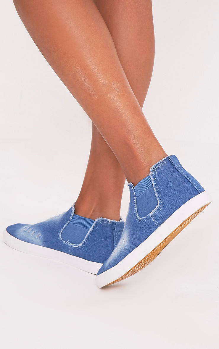 Gia Mid Blue Wash Ripped Denim Slip on Trainers 2