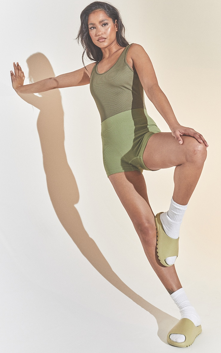 Khaki Structured Contour Rib Hot Pant 4