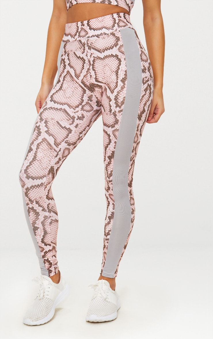 Pink Snake Contrast Gym Leggings 2