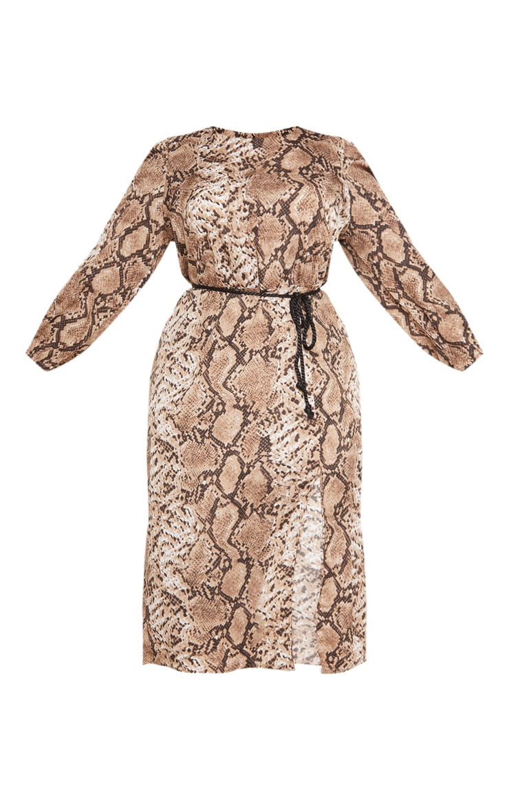 Plus Taupe Tie Waist Snake Print Midi Dress 3