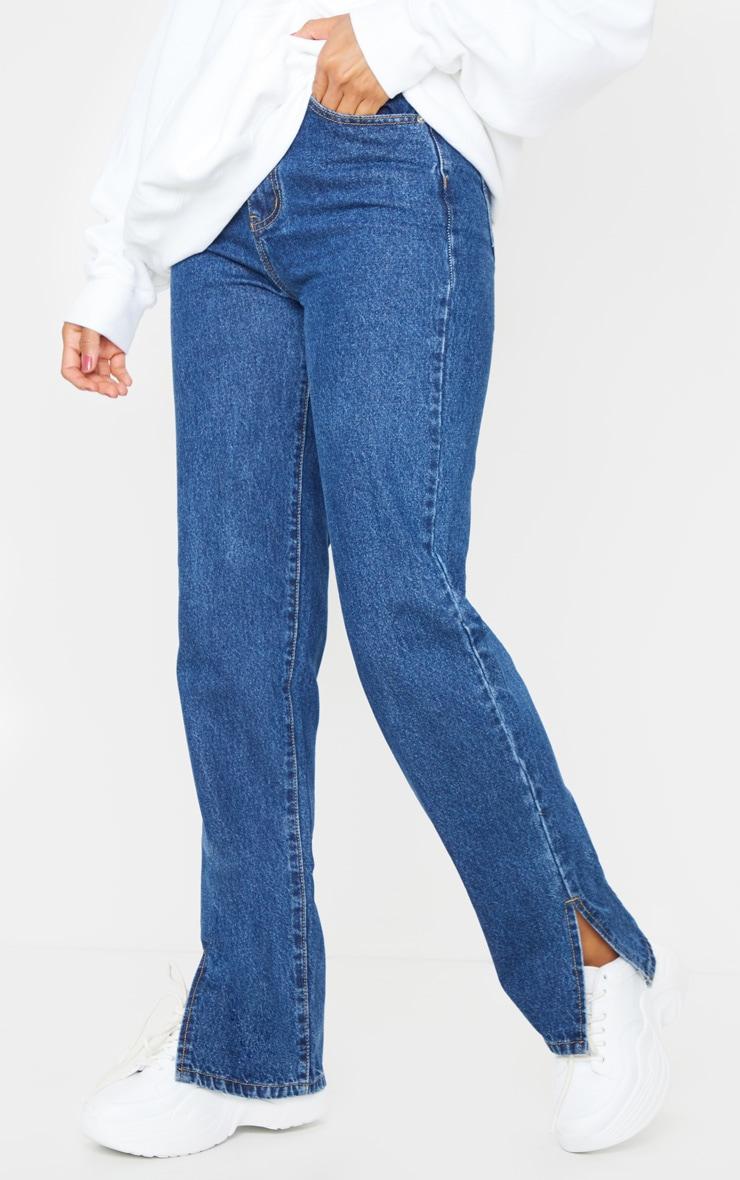 Dark Blue Wash Split Hem Straight Leg Jeans 2