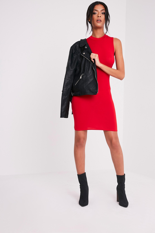 Rebecca Red High Neck Bodycon Dress 5