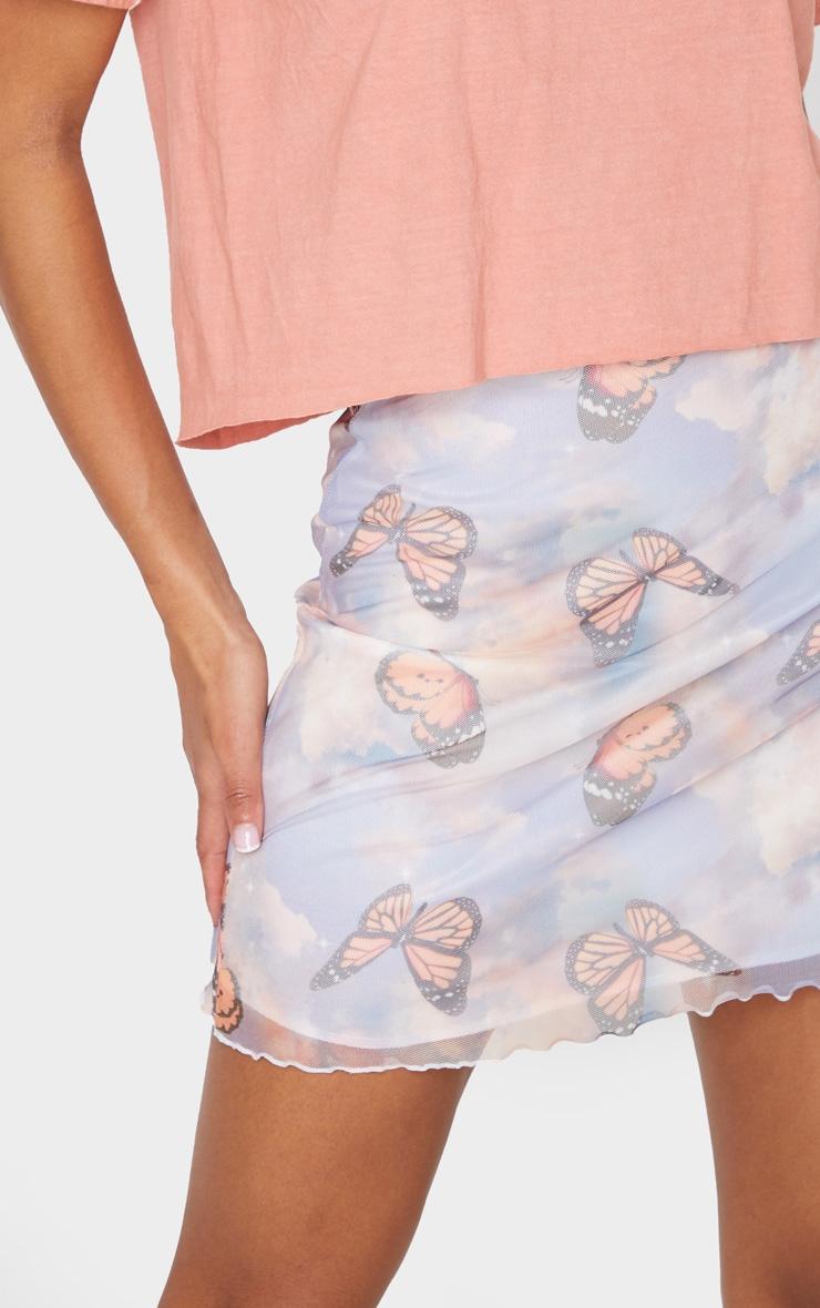 Blue Butterfly Print Lettuce Hem Skirt 5