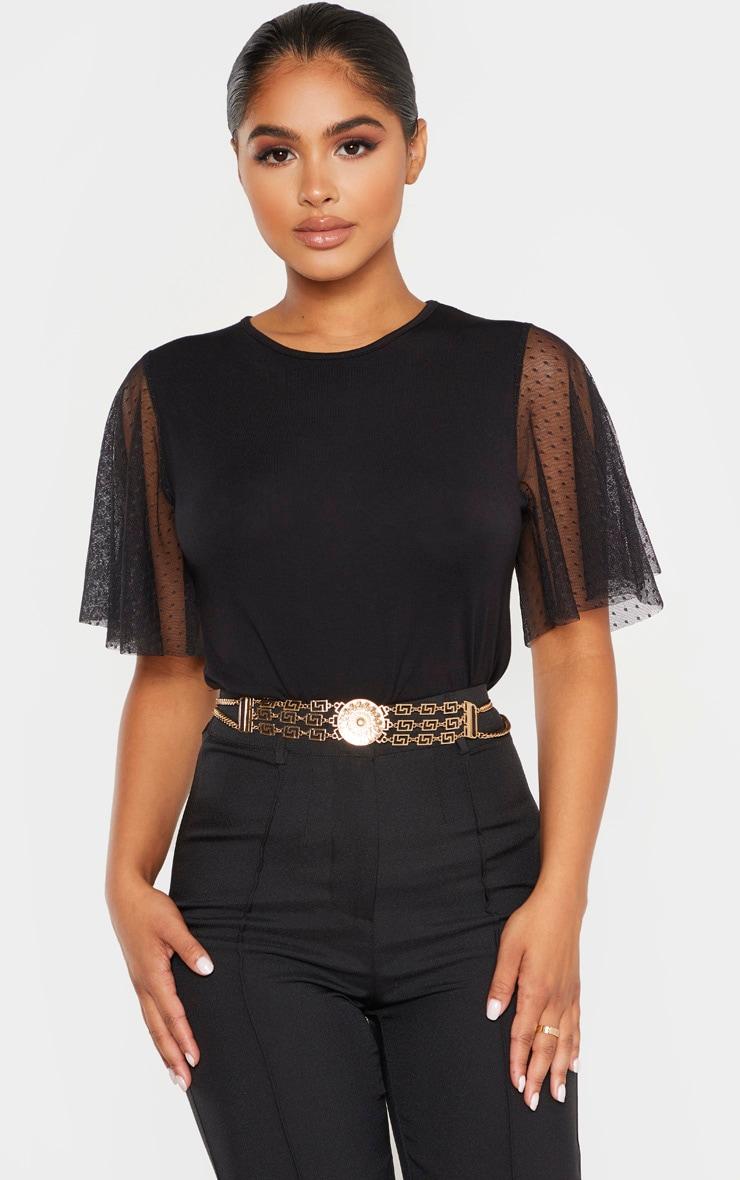 Petite - Tee-shirt noir en mesh à pois à manches courtes 1