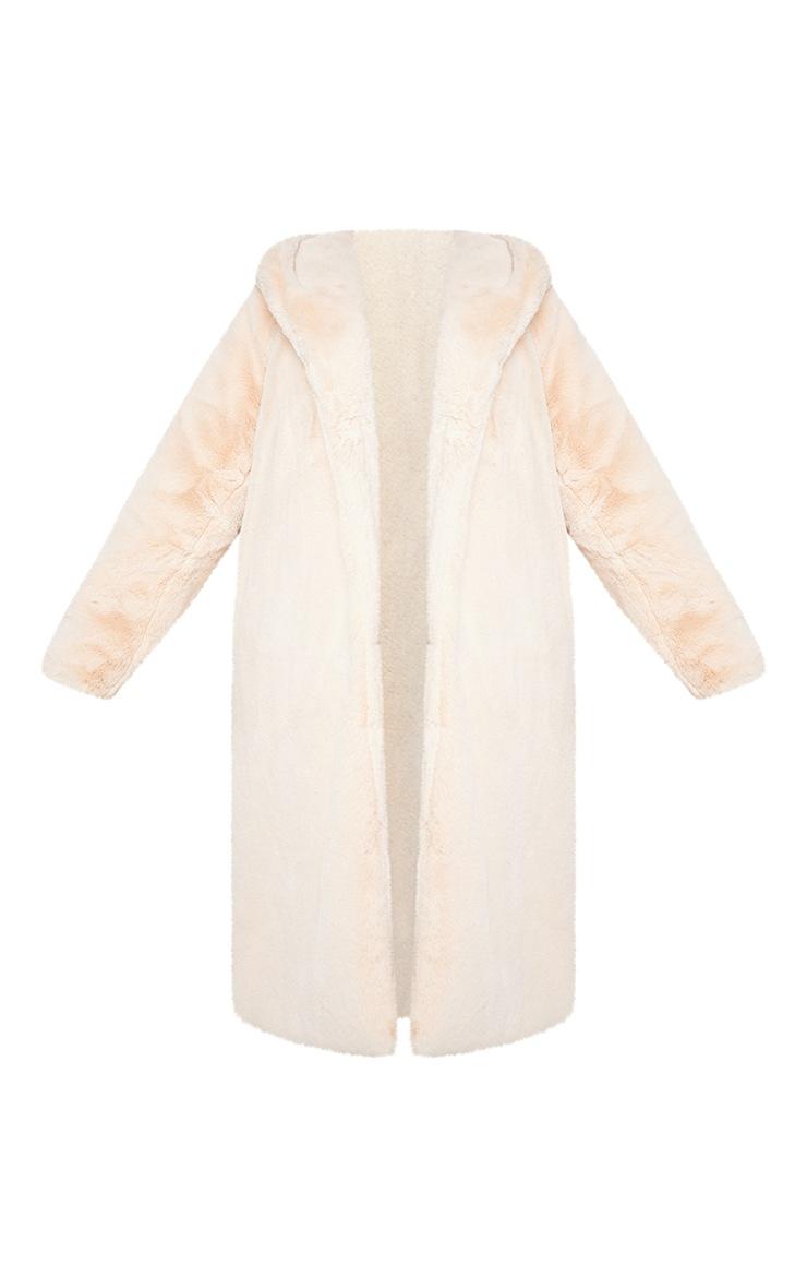 Plus Nude Premium Longline Faux Fur Hooded Coat 5