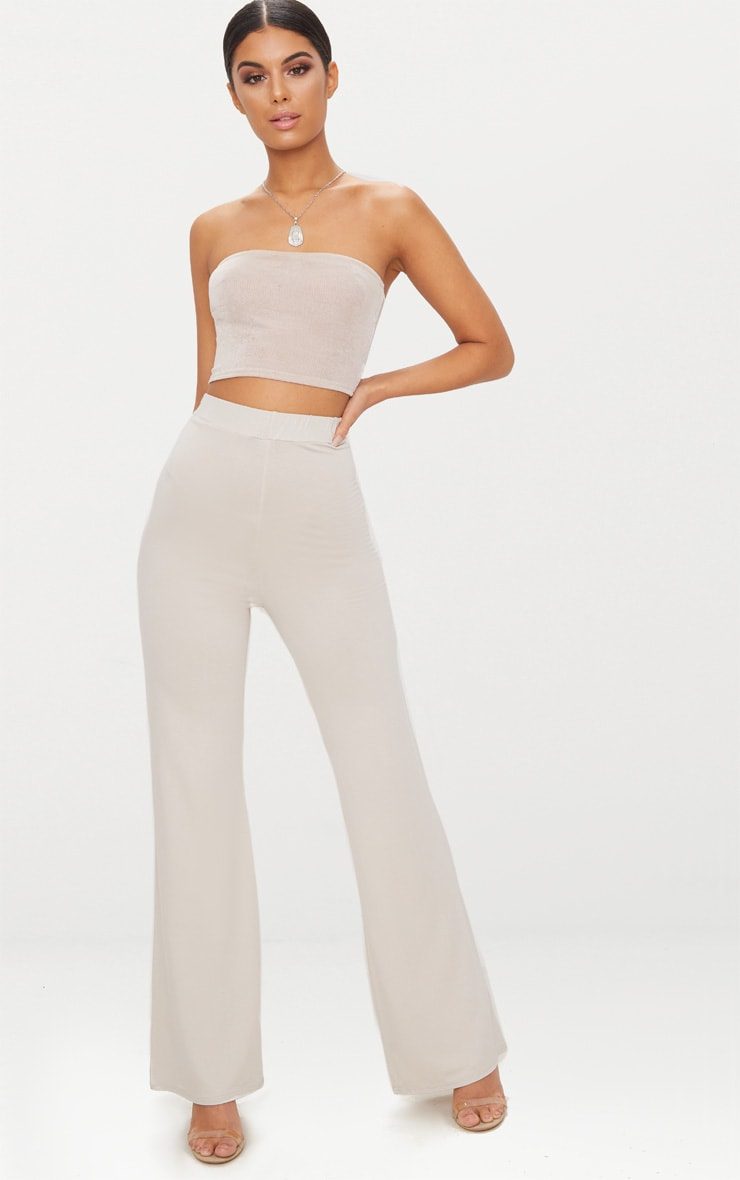 Stone Basic Jersey Wide Leg Pants 1
