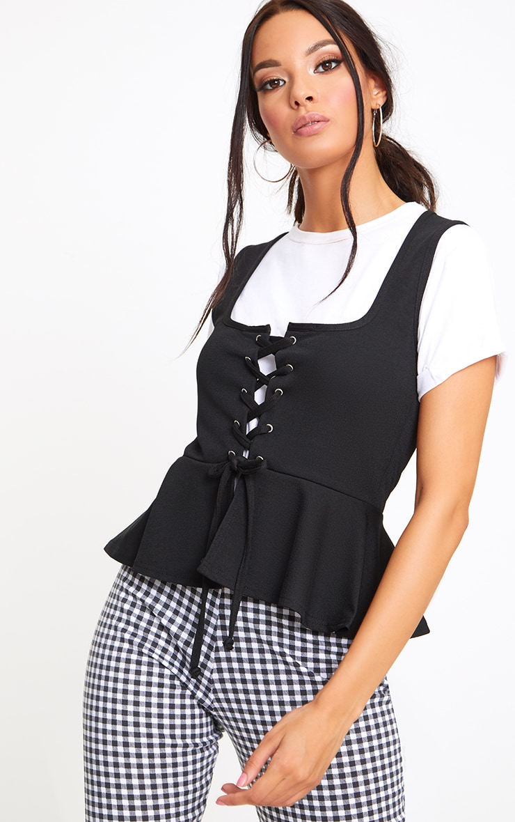 Black Lace Up Frill Top 1