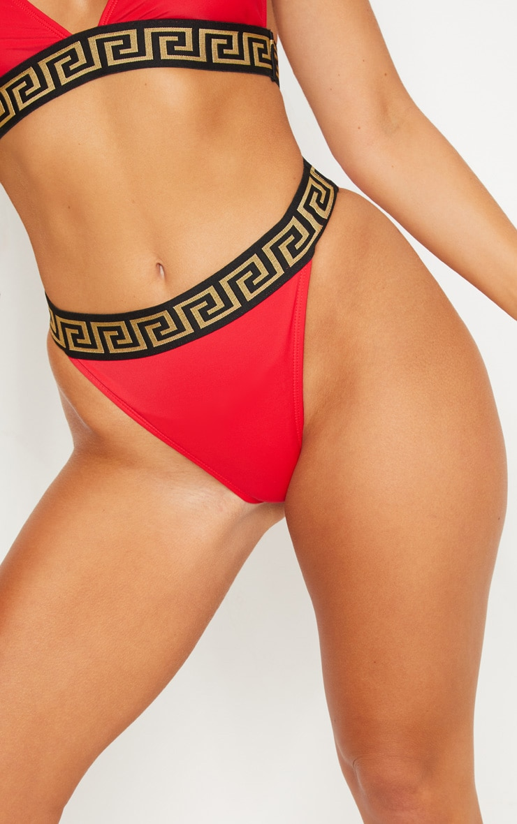 Red Greek Key Bikini Bottom 6