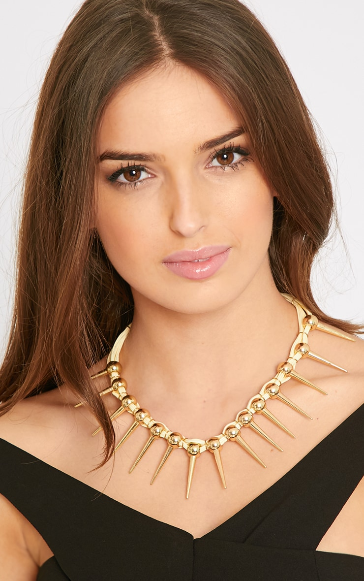 Hannah Cream Rope Gold Spike Necklace 1