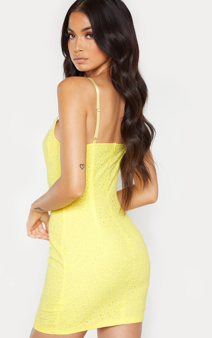 Yellow Broiderie Anglaise Lace Up Bodycon Dress 2