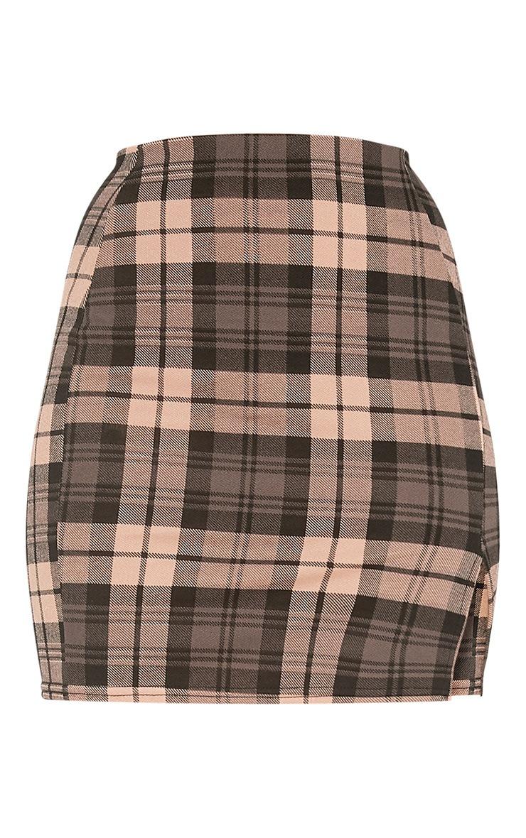 Alcee Nude Check Side Split Mini Skirt 3